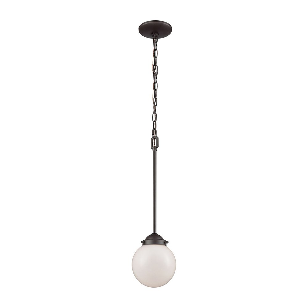 Beckett 1 Light Pendant In Oil Rubbed Bronze With Opal White Glass, CN120151. Picture 1