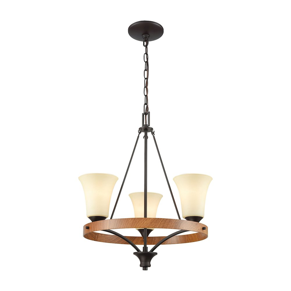 Park City 3 Light Chandelier In Oil Rubbed Bronze,Wood Grain And Light Beige Scavo Glass. Picture 1