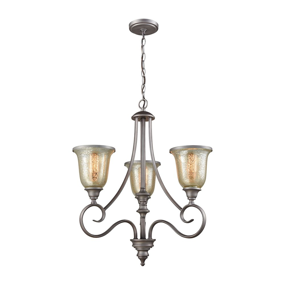 georgetown 3 light chandelier in weathered zinc with mercury glass
