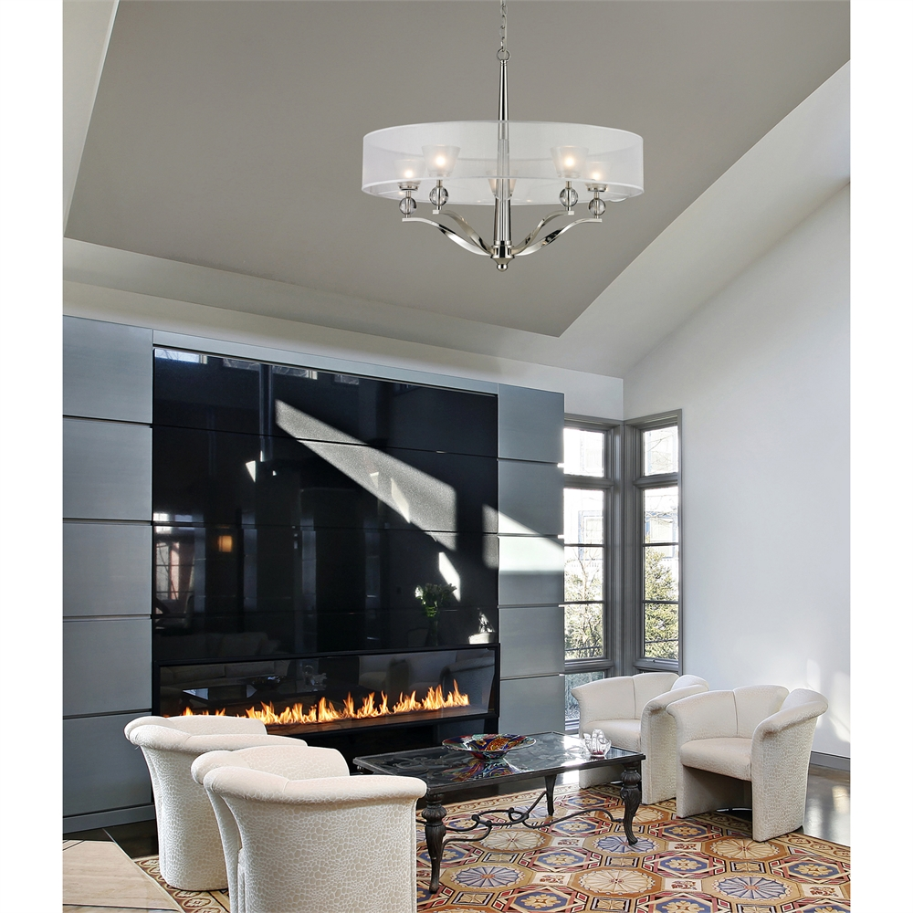 Corisande 1 Light Pendant In Polished Nickel. Picture 2