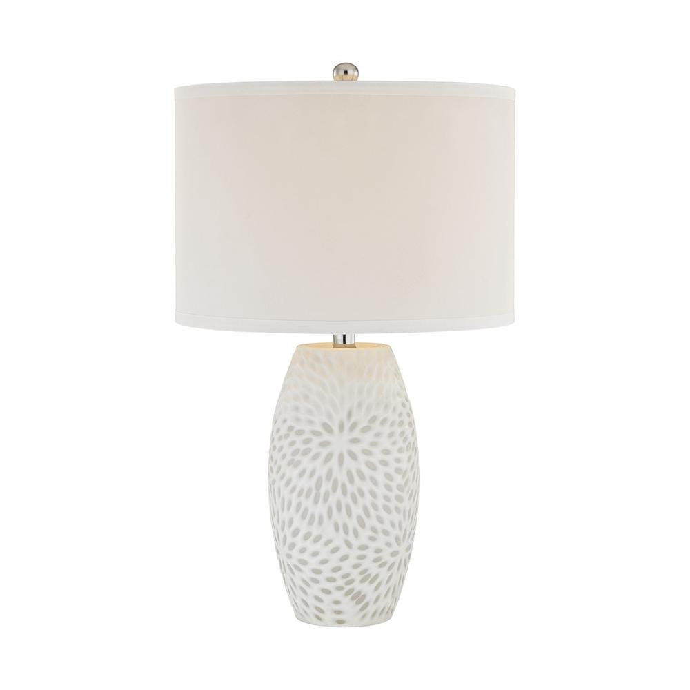 Farrah 1 Light Table Lamp In White. Picture 1