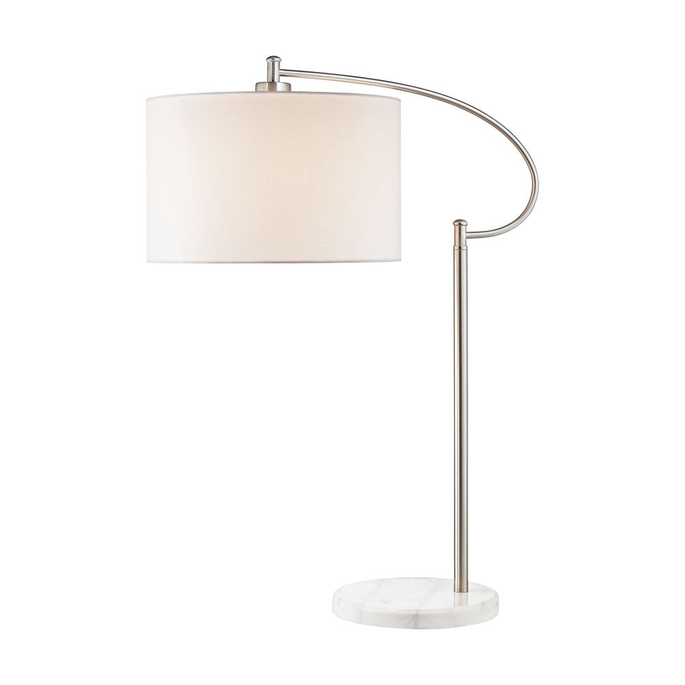 Whitecrane 1 Light Table Lamp In Satin Nickel And White. Picture 1
