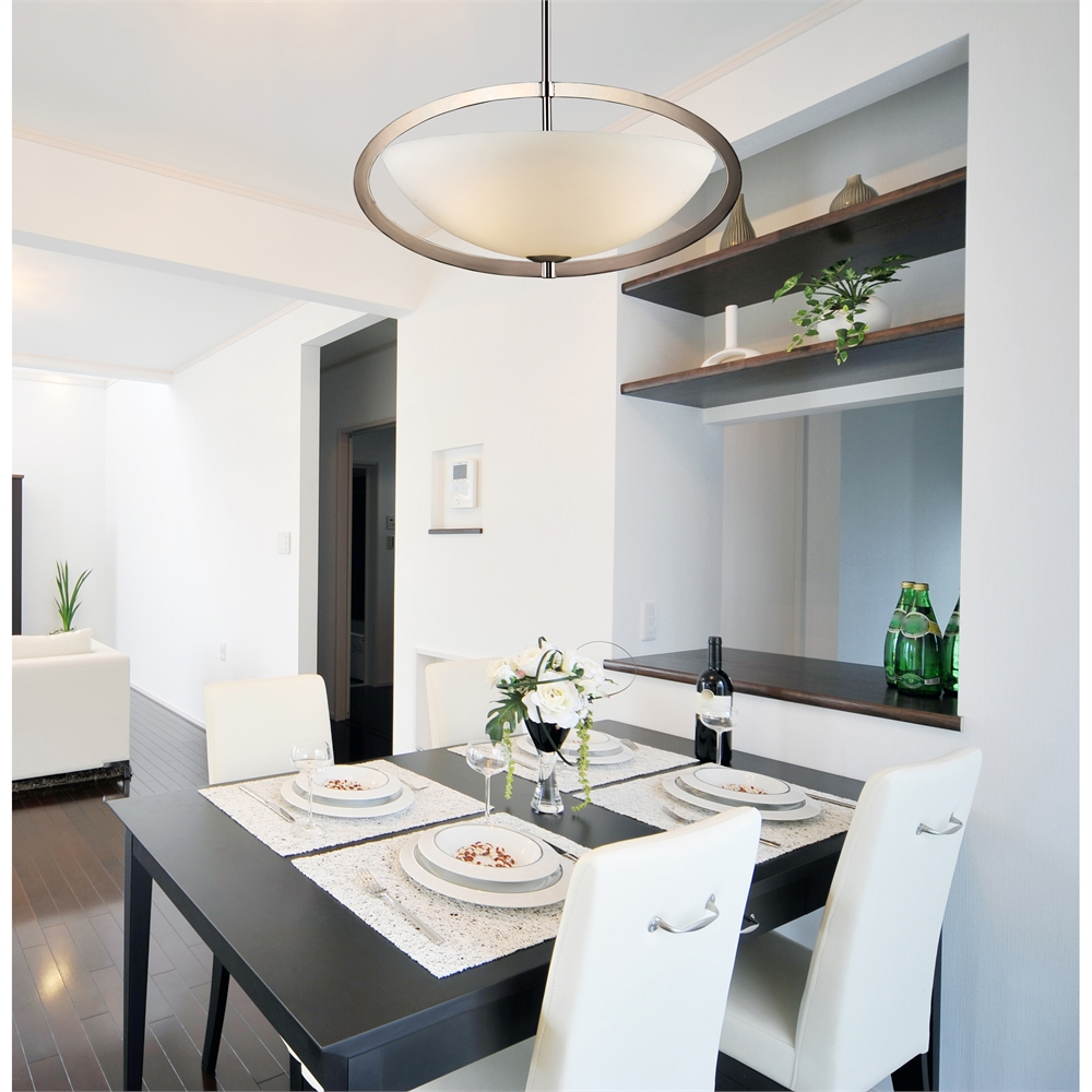 Dione 3 Light Chandelier In Polished Nickel - Includes Recessed Lighting Kit. Picture 2