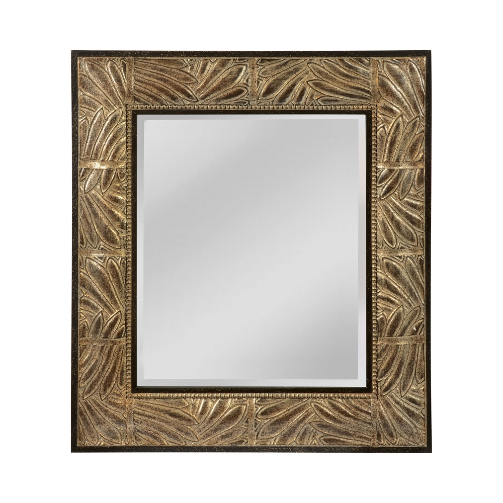 This Beveled Mirror Has Appealing Leaf Patterned Frame. Picture 1