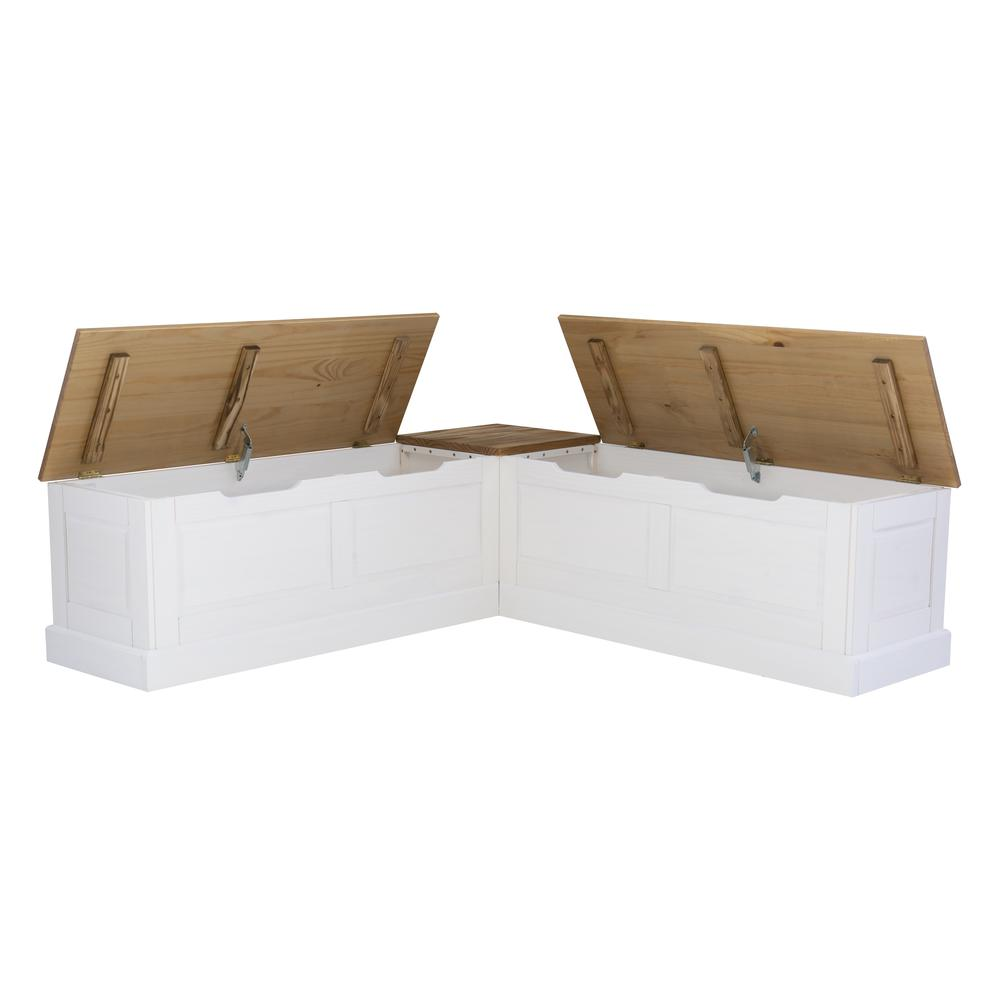 Tobin Backless Two tone Breakfast Nook, Natural and White. Picture 28
