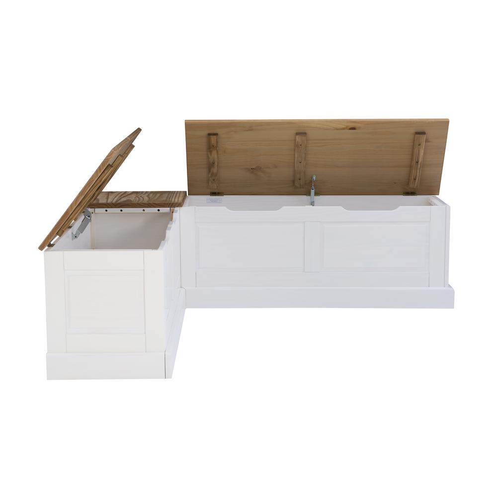 Tobin Backless Two tone Breakfast Nook, Natural and White. Picture 29