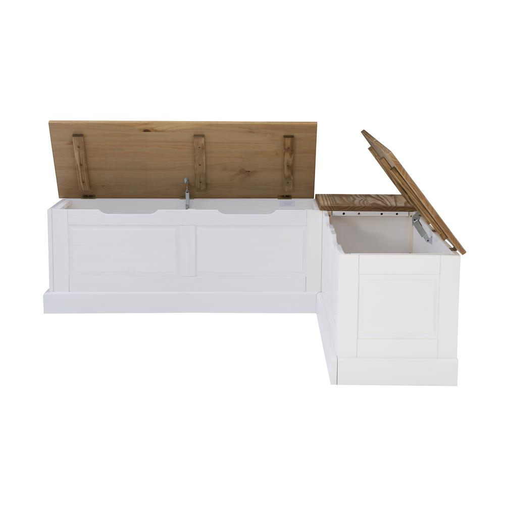 Tobin Backless Two tone Breakfast Nook, Natural and White. Picture 30