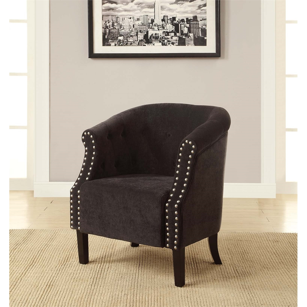 Tyrone Charcoal Tufted Barrel Chair With Nail Heads