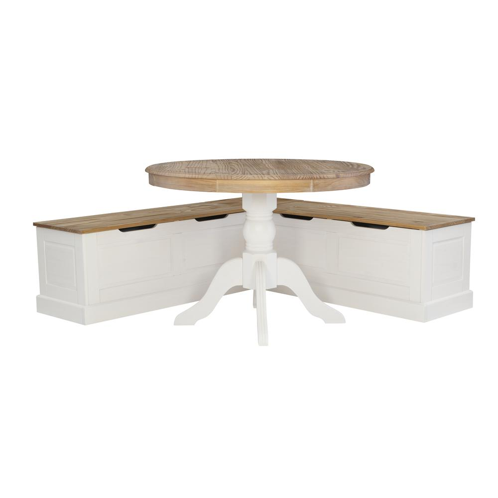 Tobin Backless Two tone Breakfast Nook, Natural and White. Picture 14