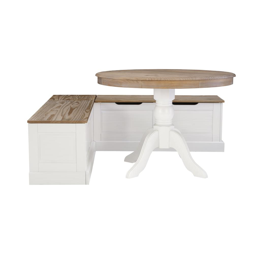 Tobin Backless Two tone Breakfast Nook, Natural and White. Picture 15