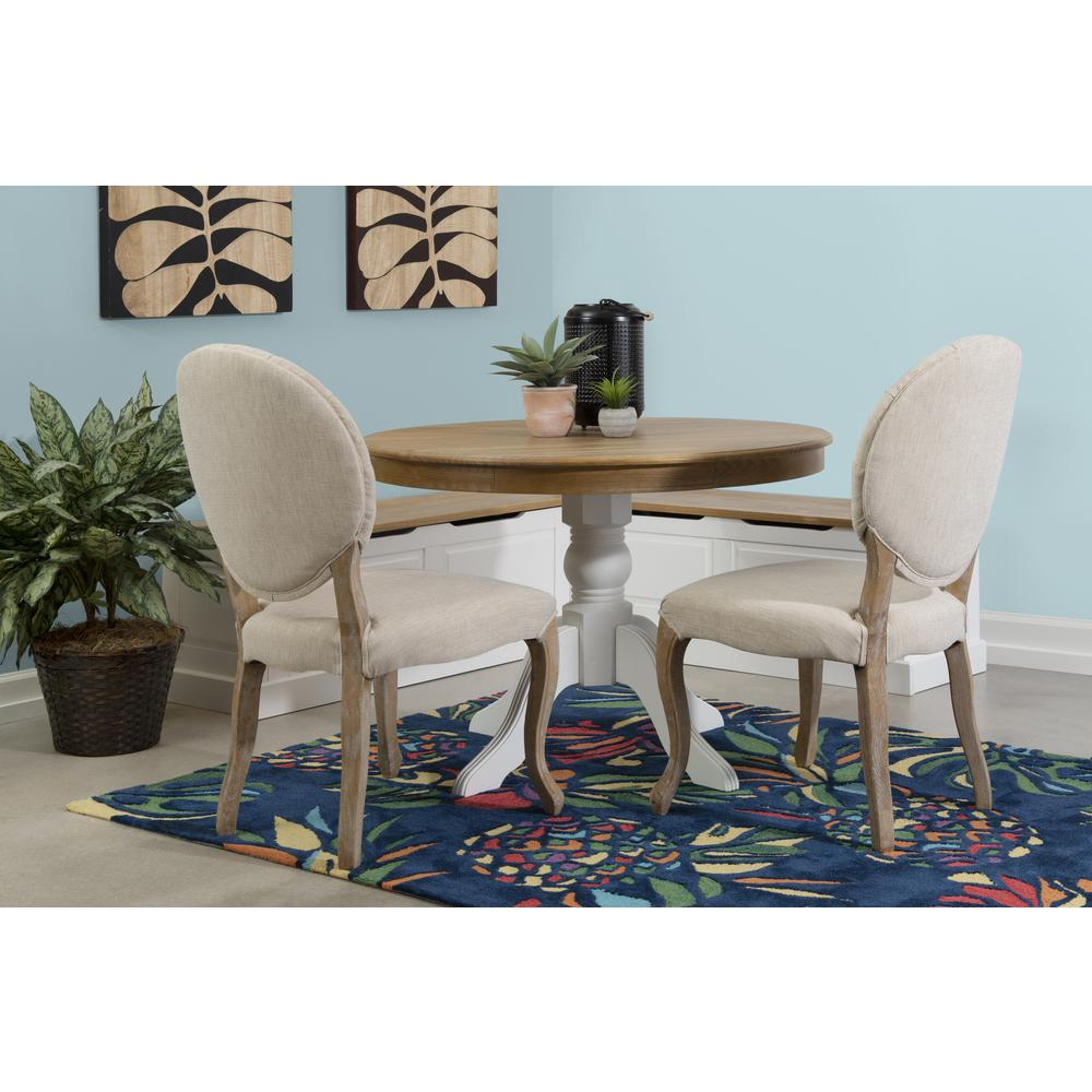 Tobin Backless Two tone Breakfast Nook, Natural and White. Picture 16