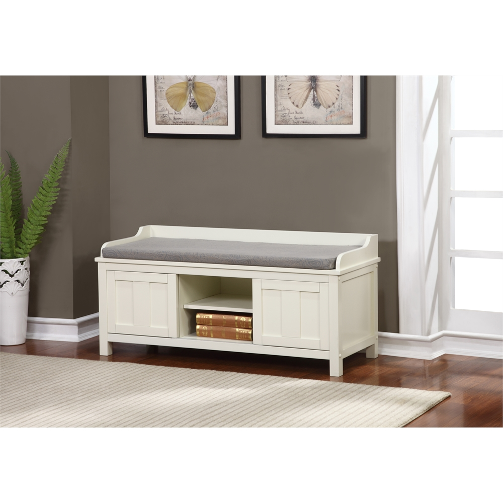 Lakeville White Storage Bench 45 W X X