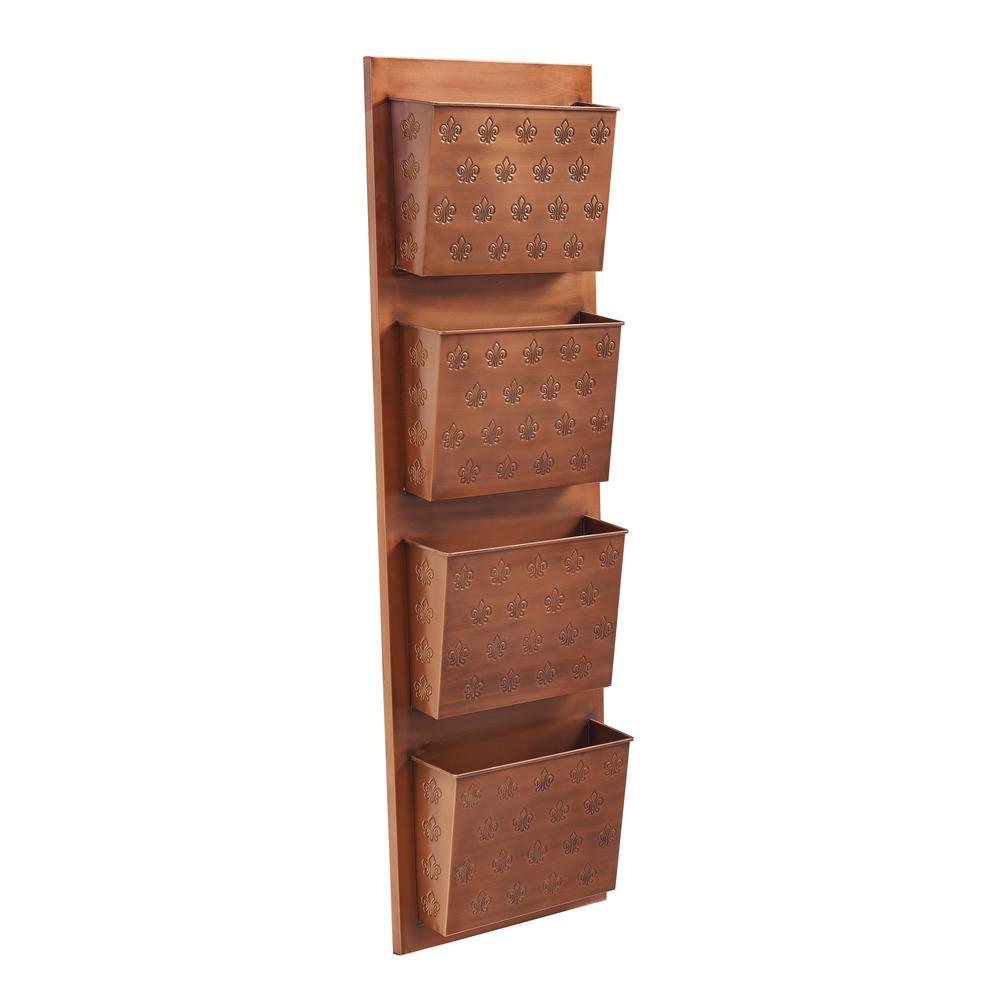Four Slot Copper Fleur-de-lis Wall Mailbox. Picture 1