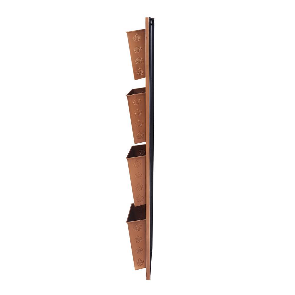 Four Slot Copper Fleur-de-lis Wall Mailbox. Picture 2