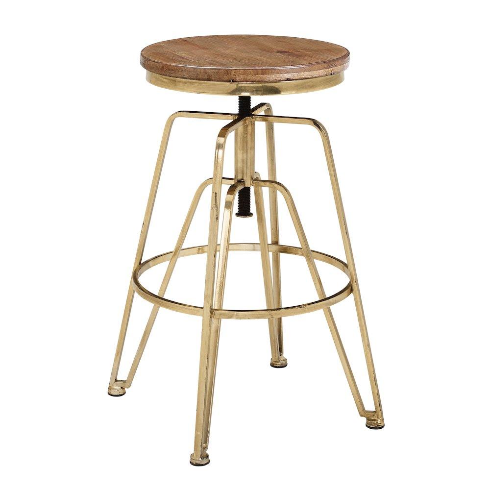 Wood And Metal Adjustable Stool