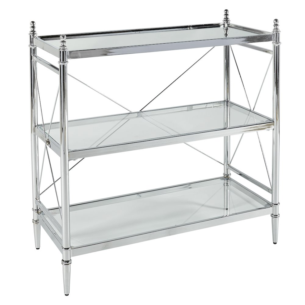 Pinnacle Chrome and Glass Floor Console. Picture 1