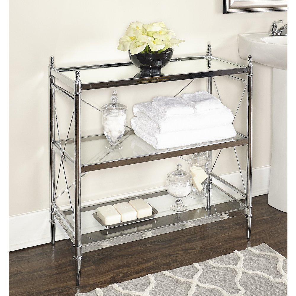 Pinnacle Chrome and Glass Floor Console. Picture 2