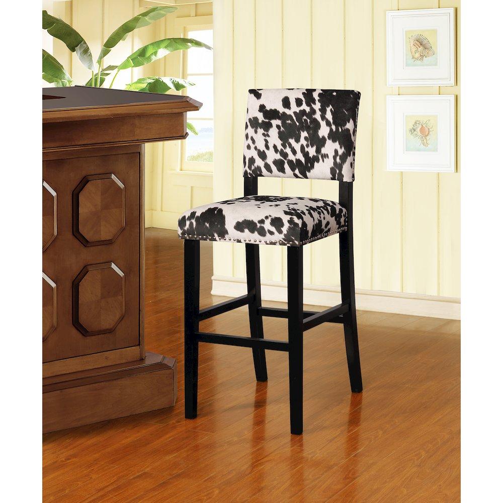 Corey Black Cow Print Bar Stool. Picture 2
