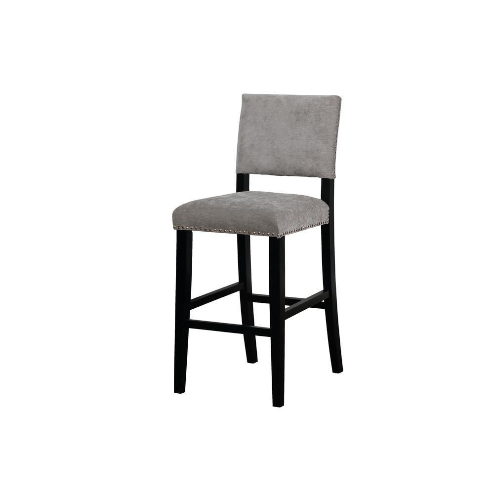 Corey Dark Gray Washed Velvet Bar Stool. Picture 1