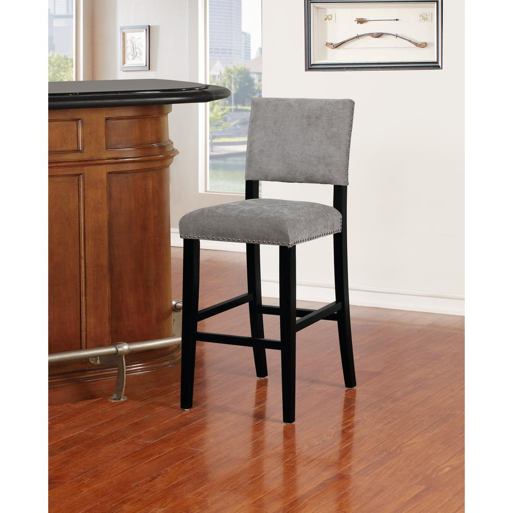 Corey Dark Gray Washed Velvet Bar Stool. Picture 4