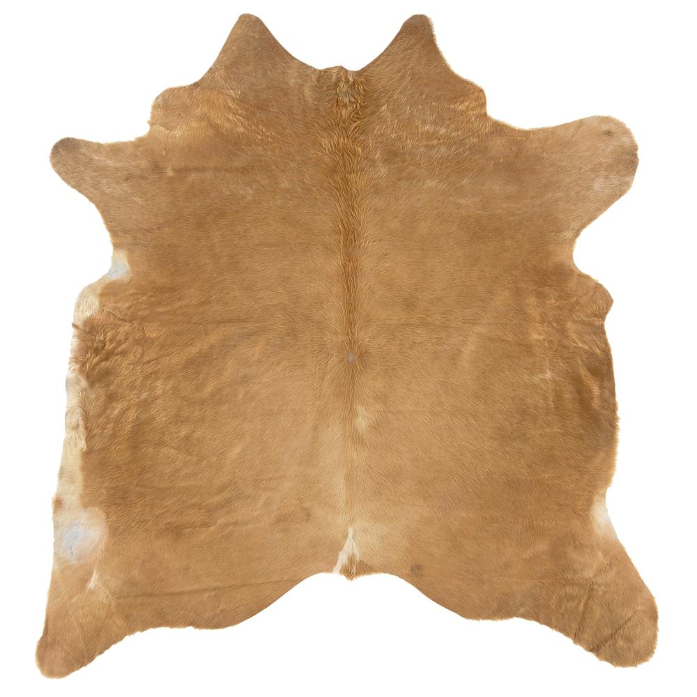 Cowhide Brown Stencil & Brown Stencil Full Skin Rug. Picture 1