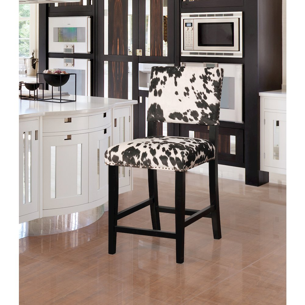 Clayton Black Cow Print Counter Stool