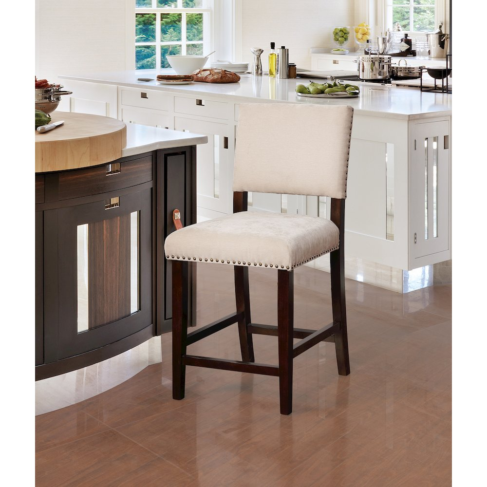 Corey Natural Washed Velvet Counter Stool. Picture 2