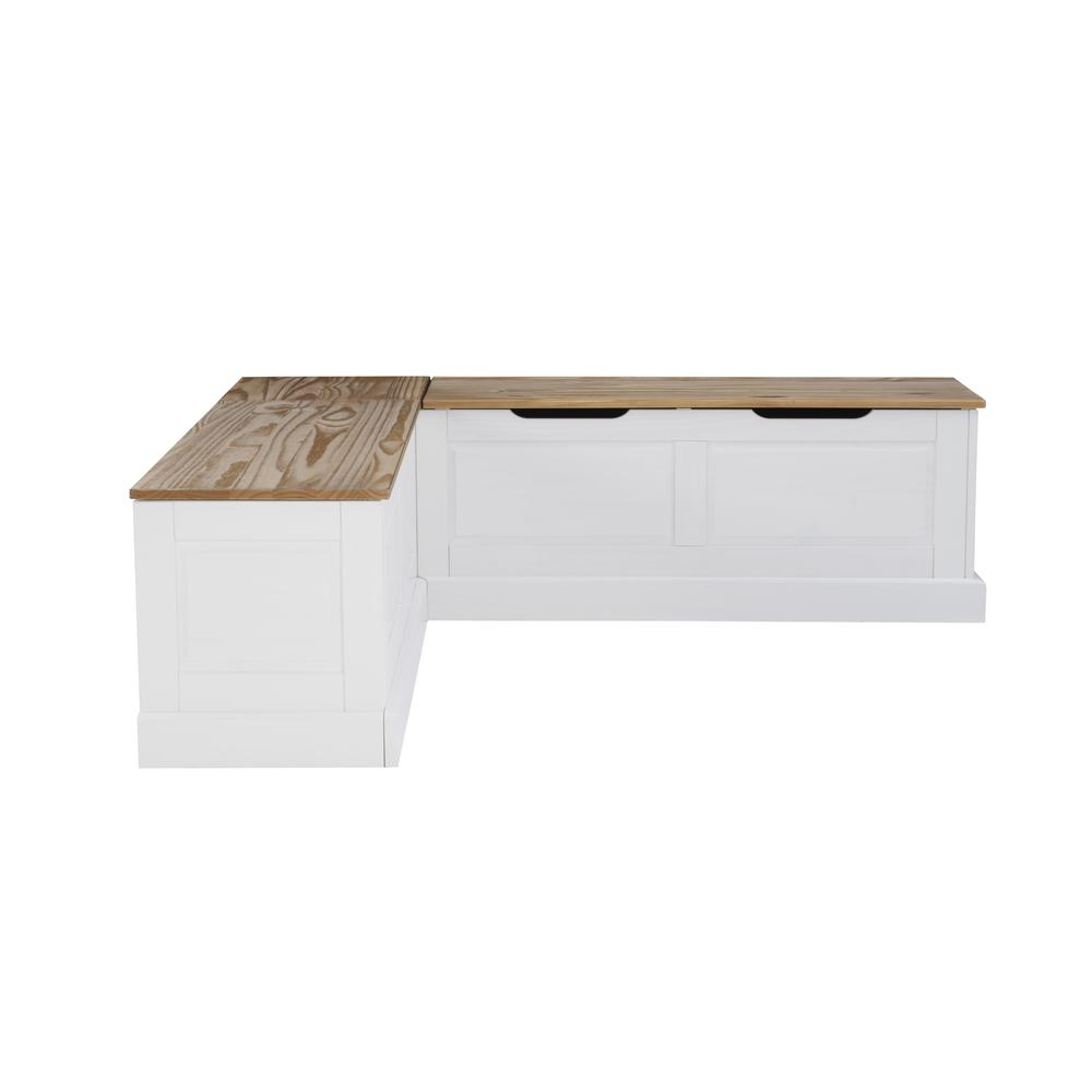 Tobin Backless Two tone Breakfast Nook, Natural and White. Picture 2