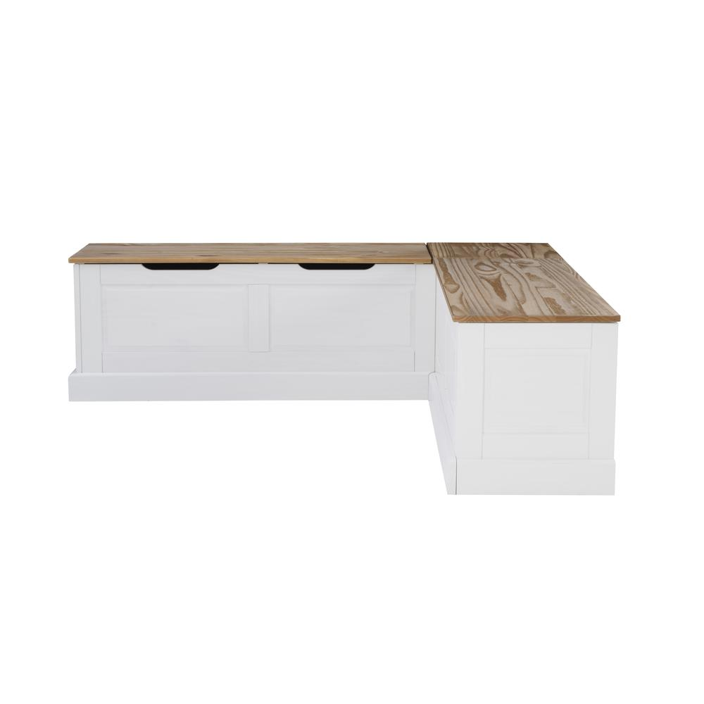 Tobin Backless Two tone Breakfast Nook, Natural and White. Picture 3