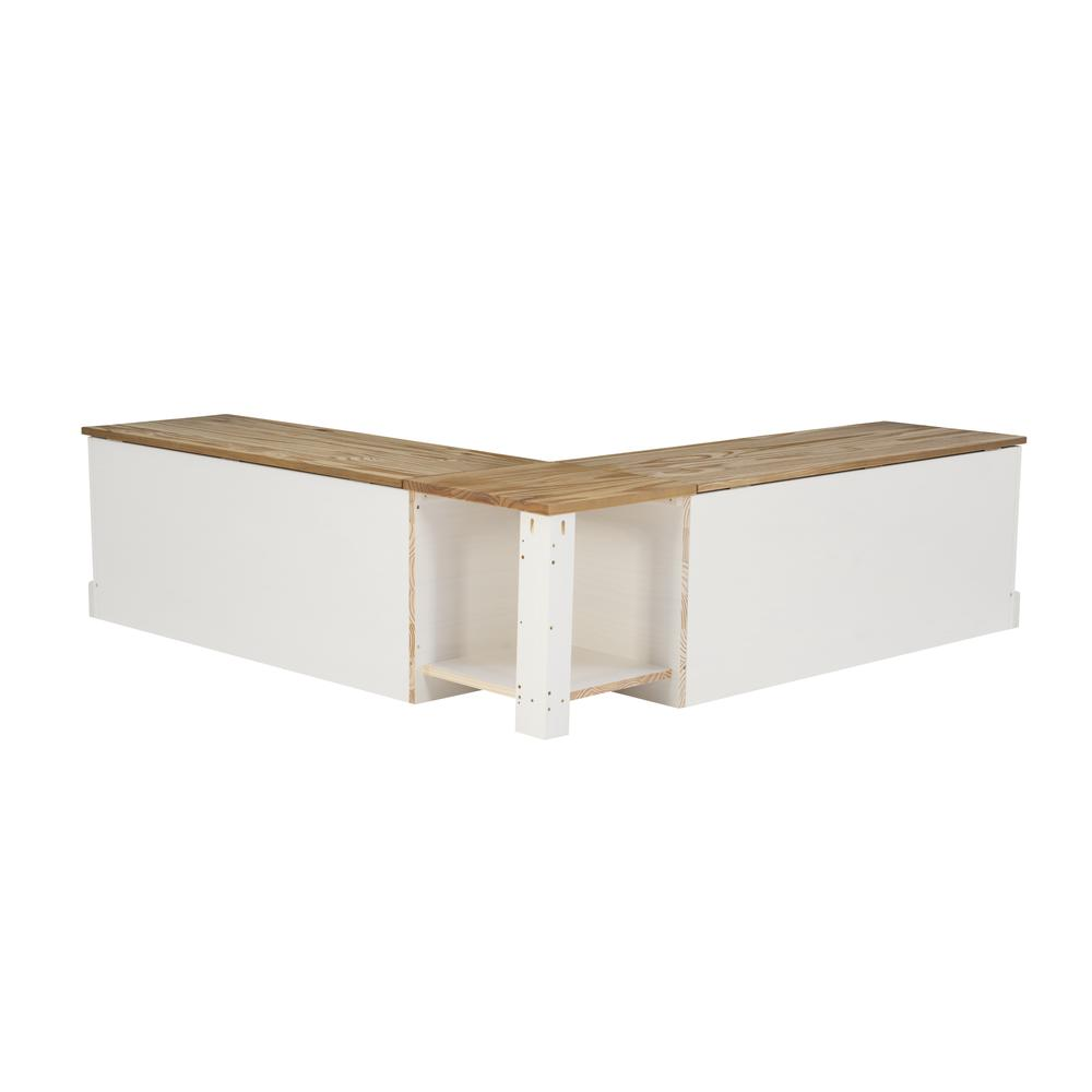 Tobin Backless Two tone Breakfast Nook, Natural and White. Picture 4