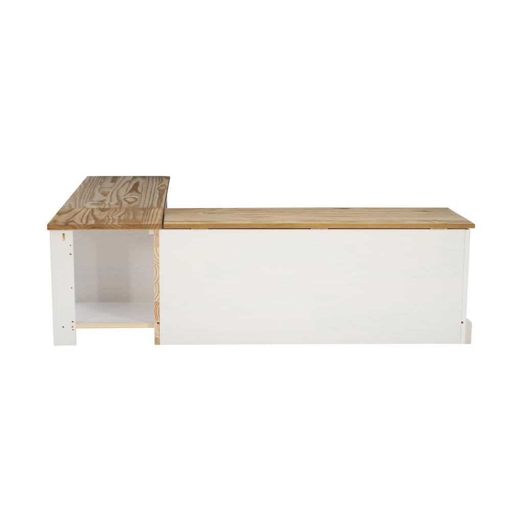 Tobin Backless Two tone Breakfast Nook, Natural and White. Picture 5