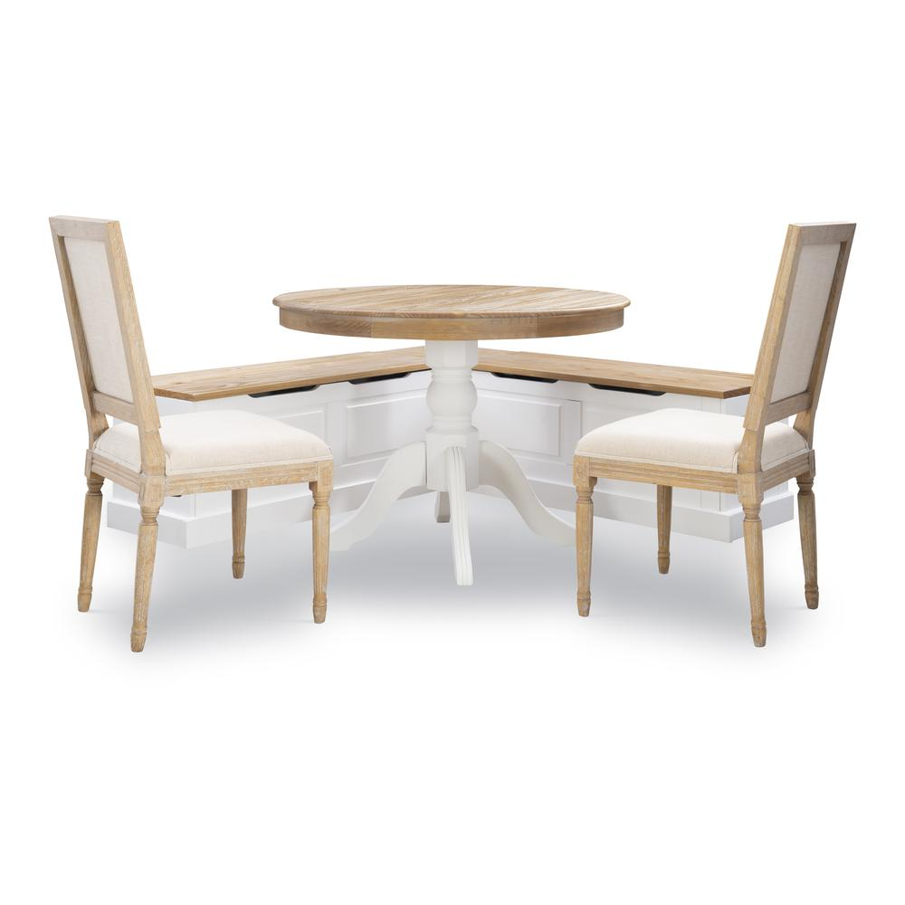 Tobin Backless Two tone Breakfast Nook, Natural and White. Picture 12