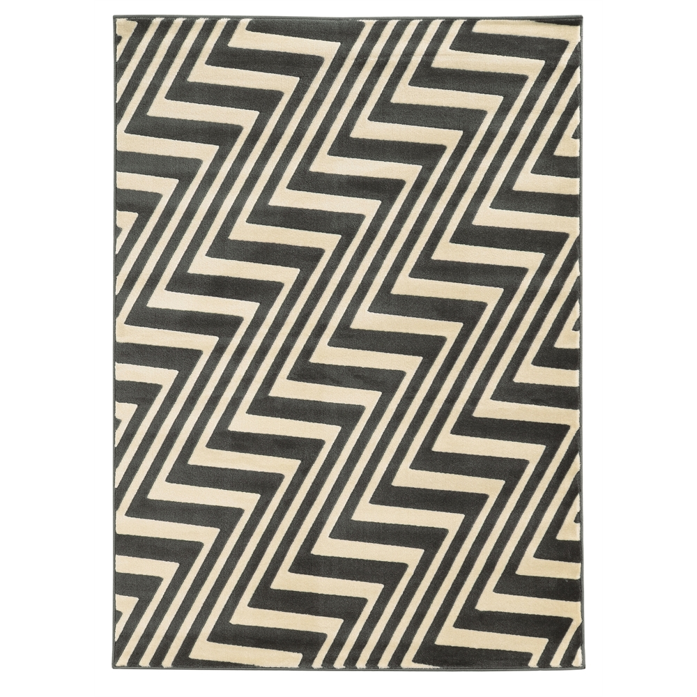 Roma ZigZag Charc/Grey 8x10 Rug. The main picture.