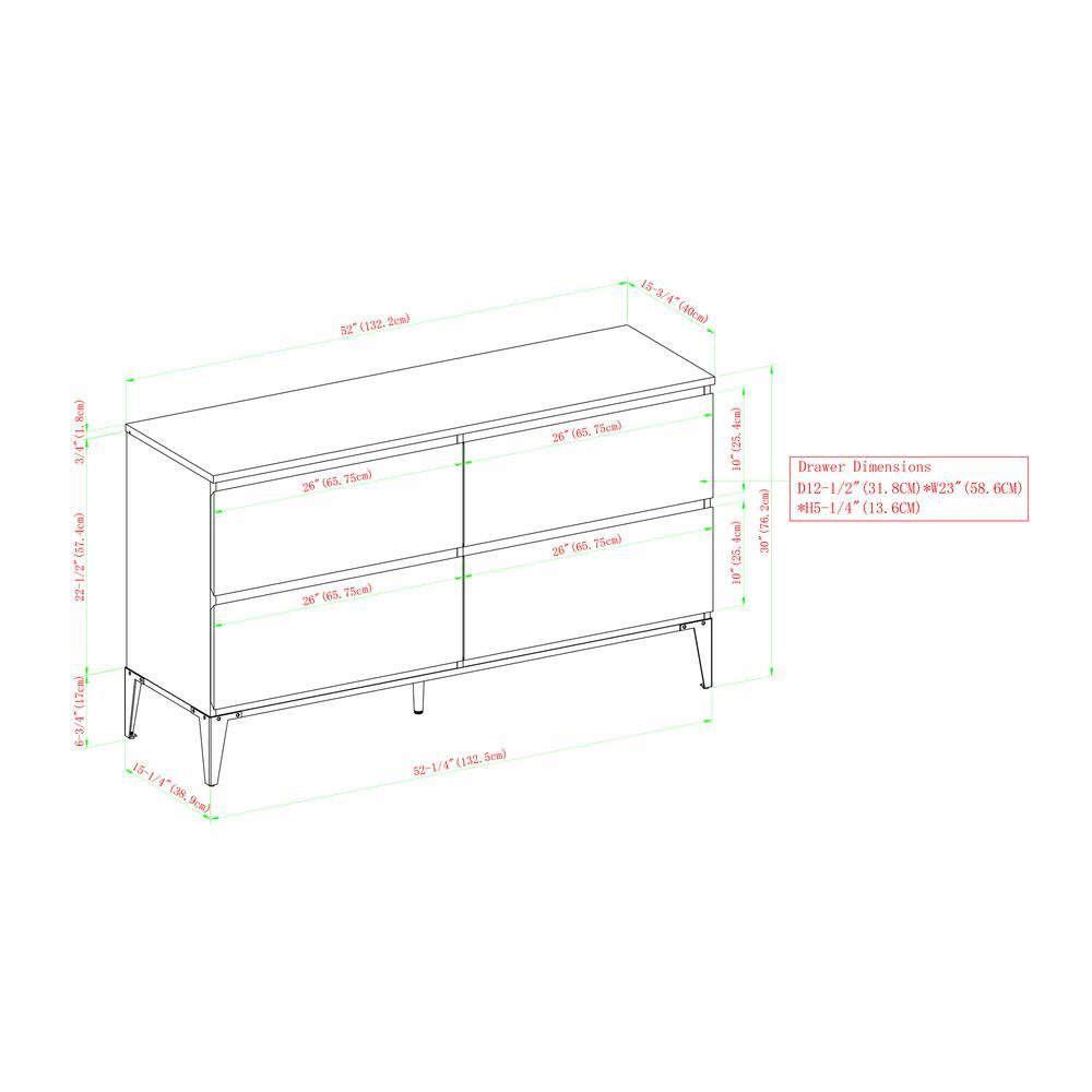"52"" 4-Drawer Urban Storage Console - English Oak. Picture 16"