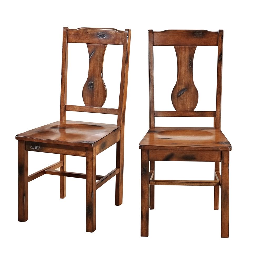 Dark Oak Wood Dining Chairs, Set Of 2