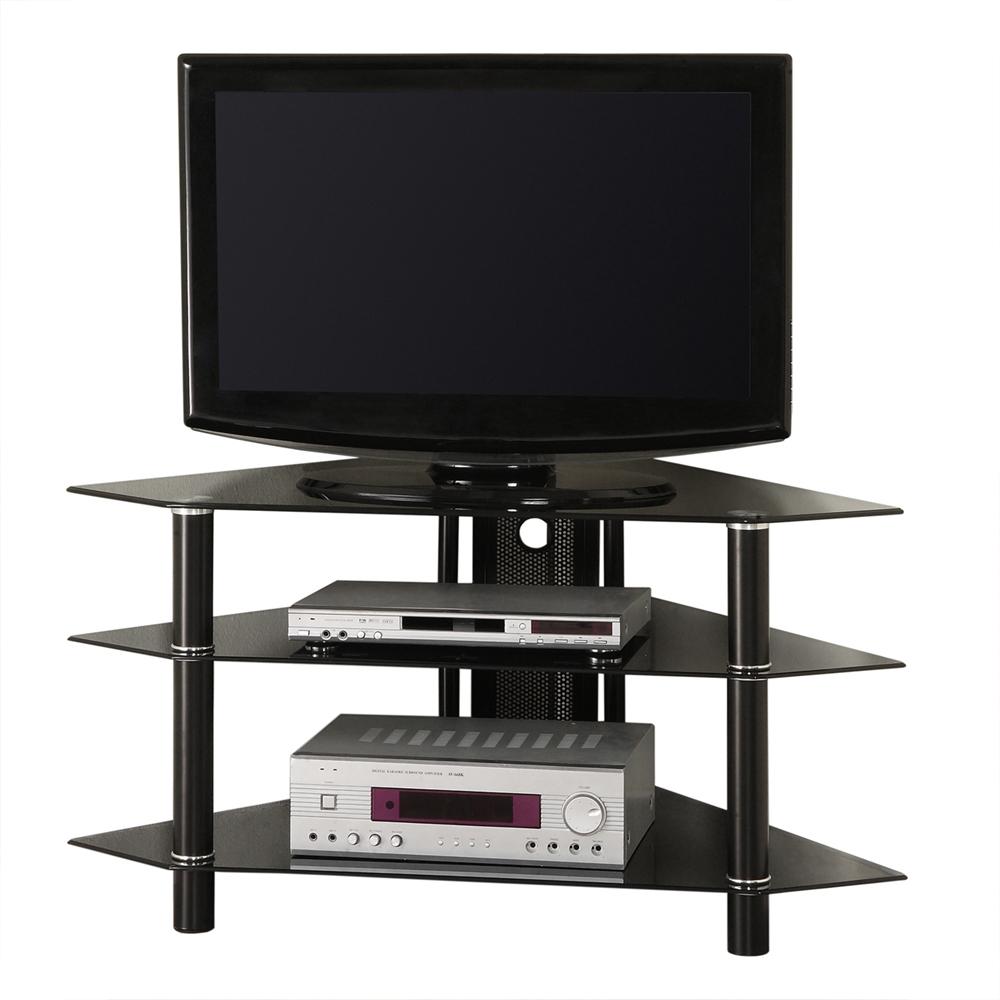 44 black glass corner tv stand. Black Bedroom Furniture Sets. Home Design Ideas