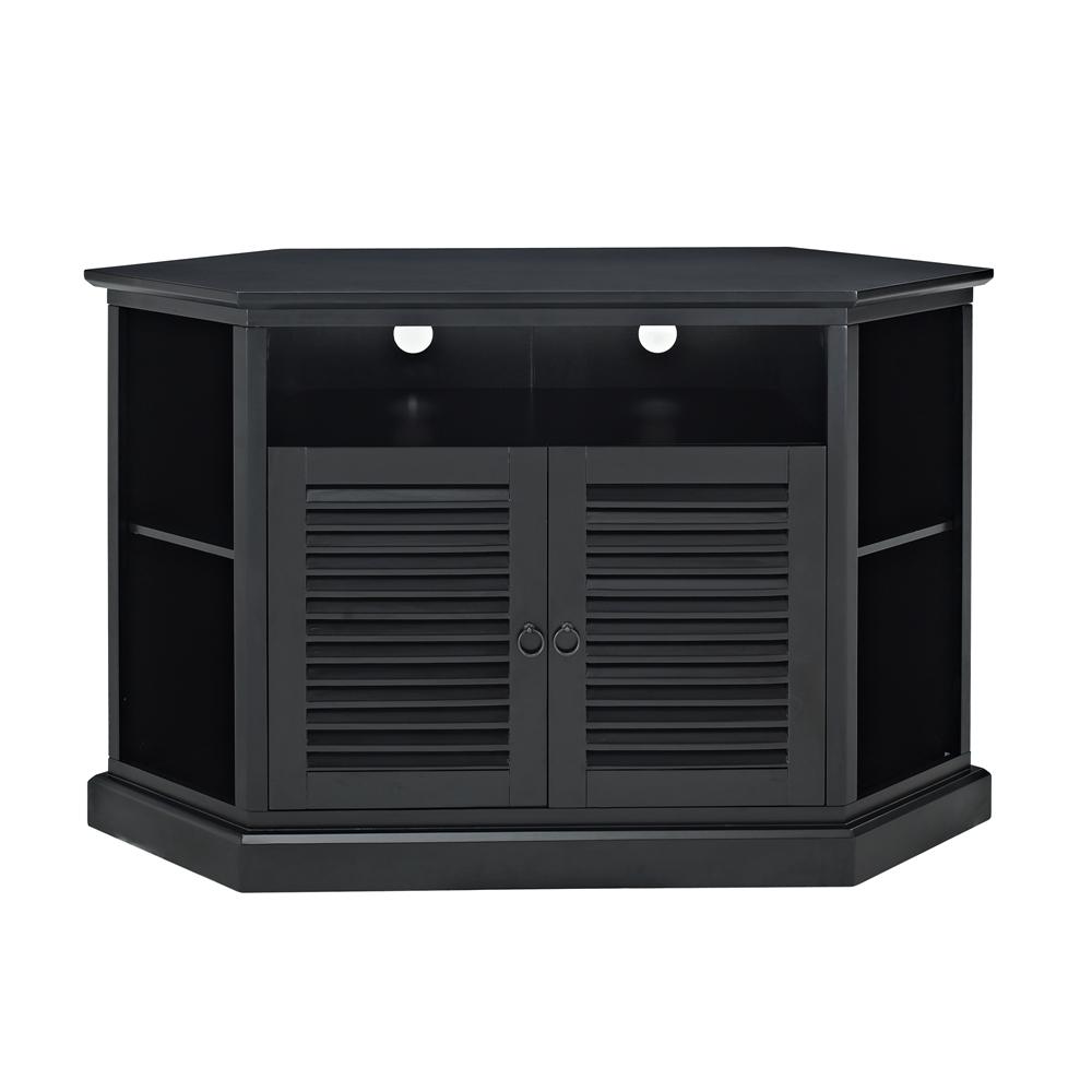 52 black wood corner tv stand. Black Bedroom Furniture Sets. Home Design Ideas