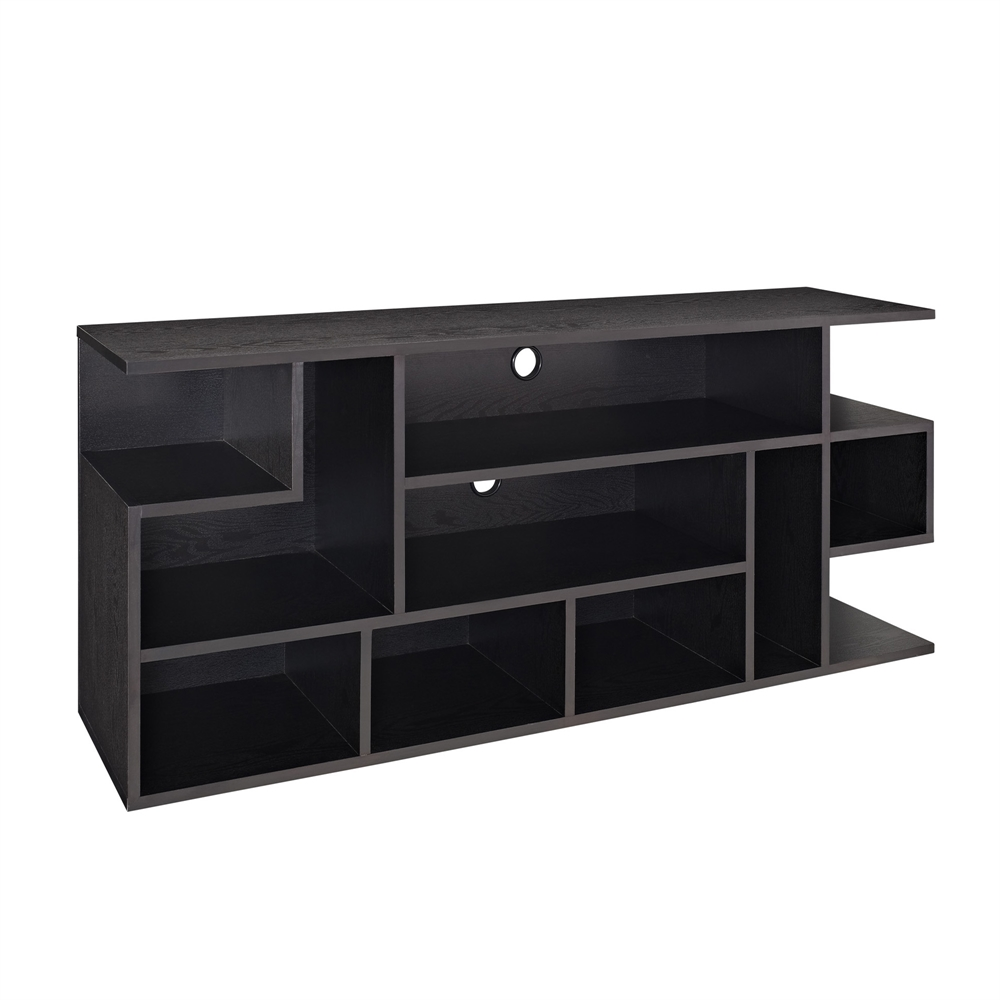 60 Quot Black Wood Tv Stand