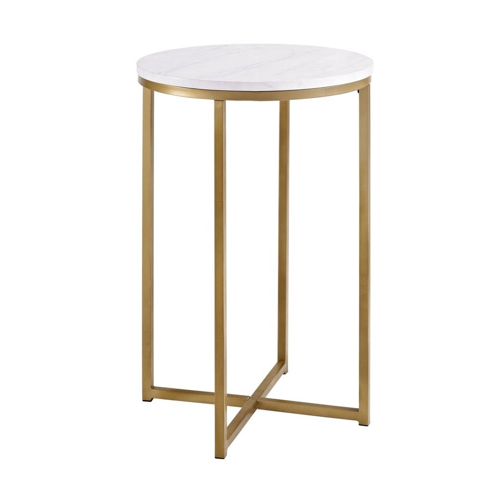 16 Quot Round Side Table Marble Gold