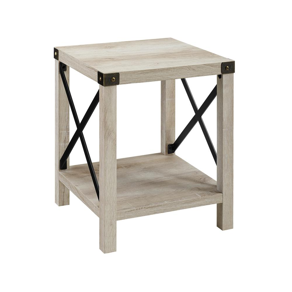 "18"" Rustic Urban Industrial Metal X Accent Side Table - White Oak. Picture 1"