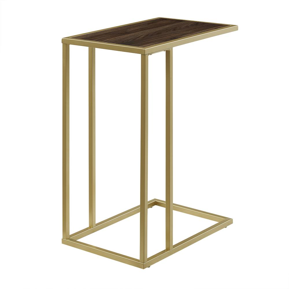 "20"" Modern Contemporary C Table - Dark Walnut/ Gold. Picture 1"