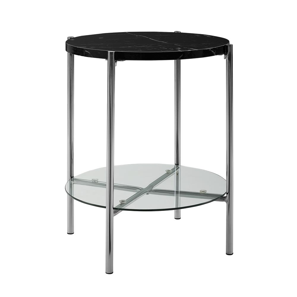 20 Quot Black Faux Marble Round Side Table With Glass Shelf