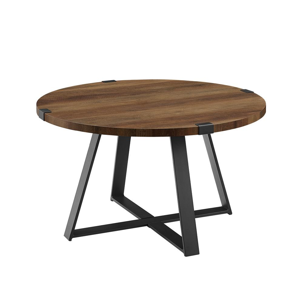 "30"" Metal Wrap Round Coffee Table - Rustic Oak/Black. Picture 3"