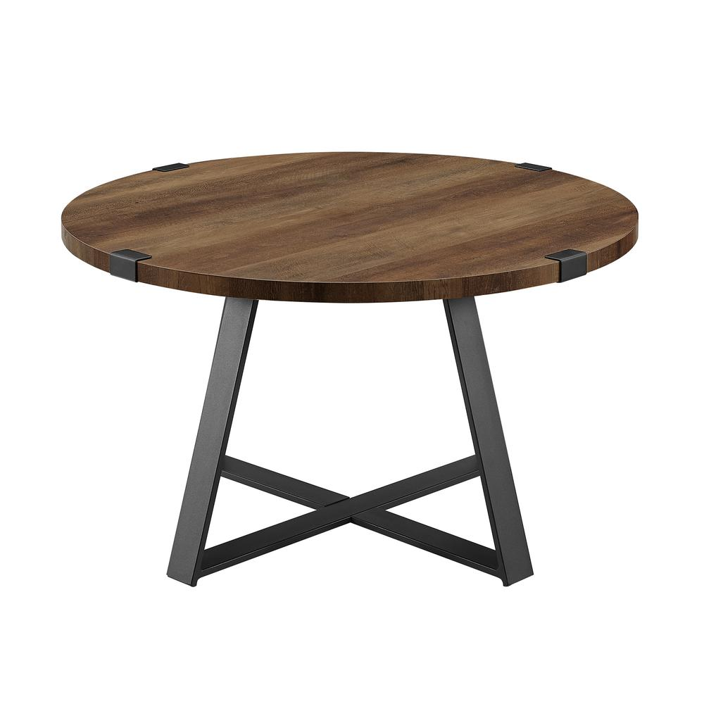 "30"" Metal Wrap Round Coffee Table - Rustic Oak/Black. Picture 4"