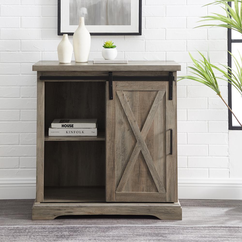 "Sliding Door Farmhouse Table: 32"" Rustic Farmhouse Wood Buffet Cabinet With Sliding Barn"