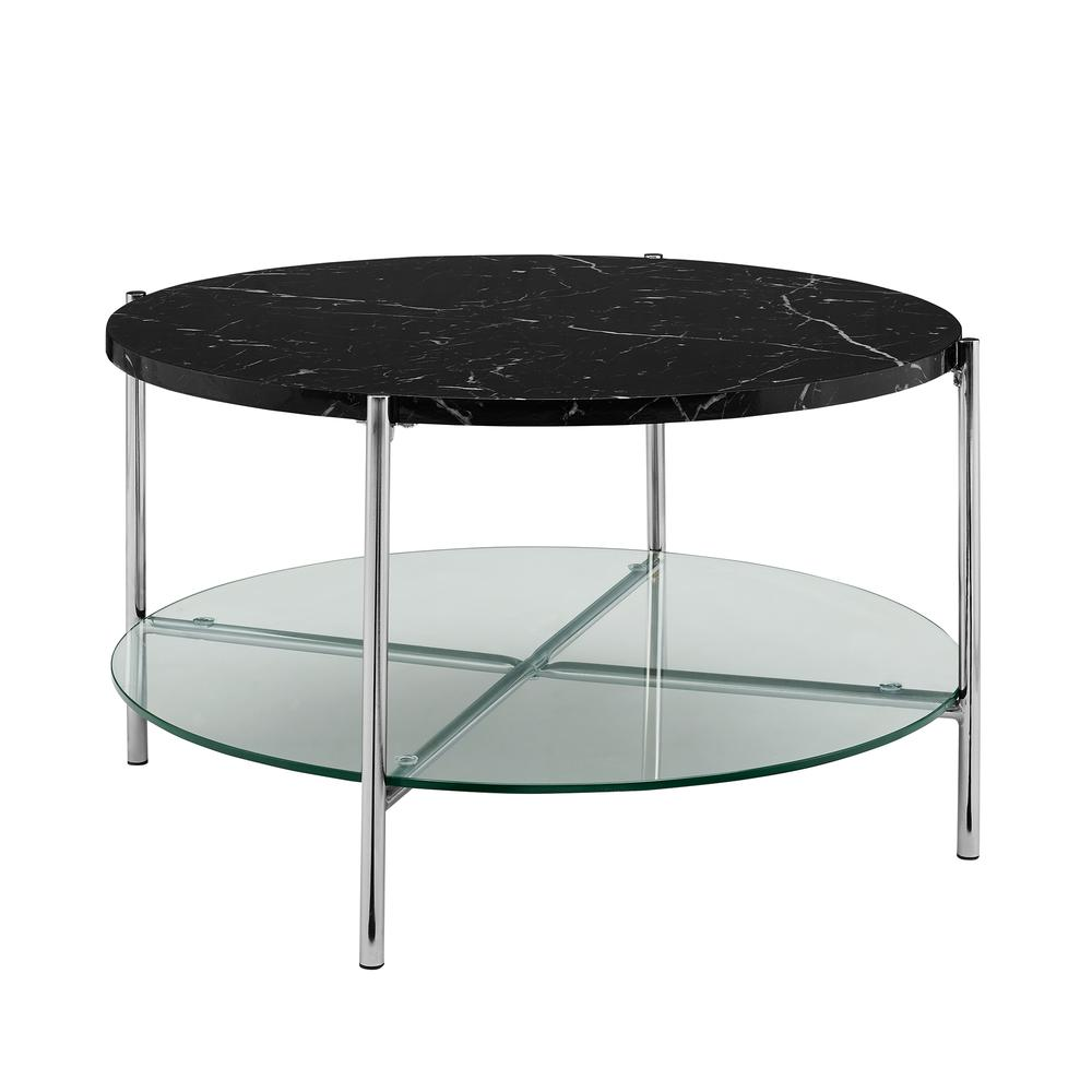 """Faux Marble Round Coffee Table: 32"""" Black Faux Marble Round Coffee Table With Glass Shelf"""