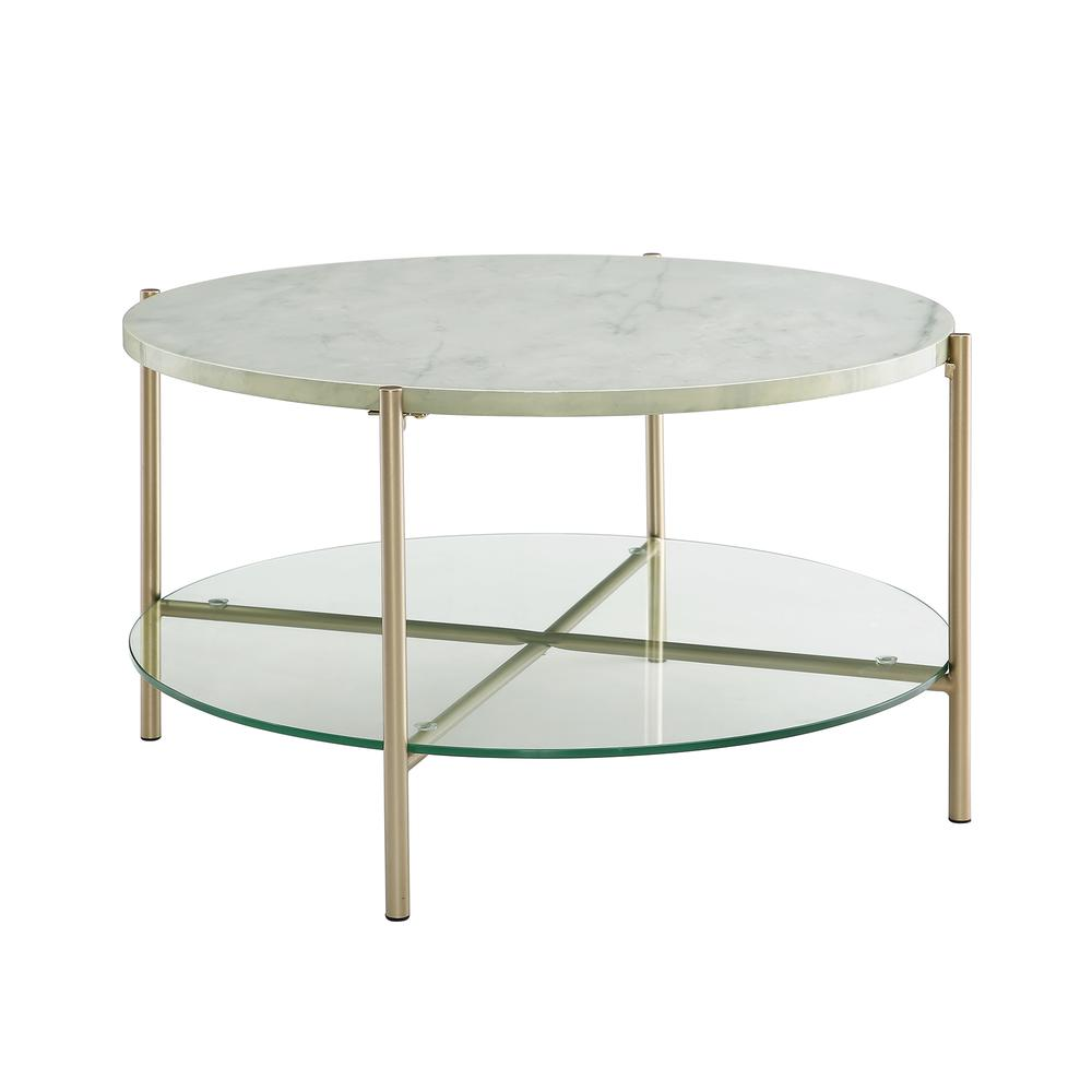 "Faux White Marble Coffee Table Set: 32"" White Faux Marble Round Coffee Table With Glass Shelf"