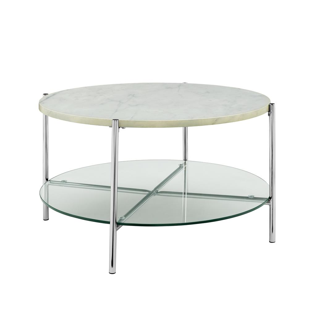 """Faux Marble Round Coffee Table: 32"""" White Faux Marble Round Coffee Table With Glass Shelf"""