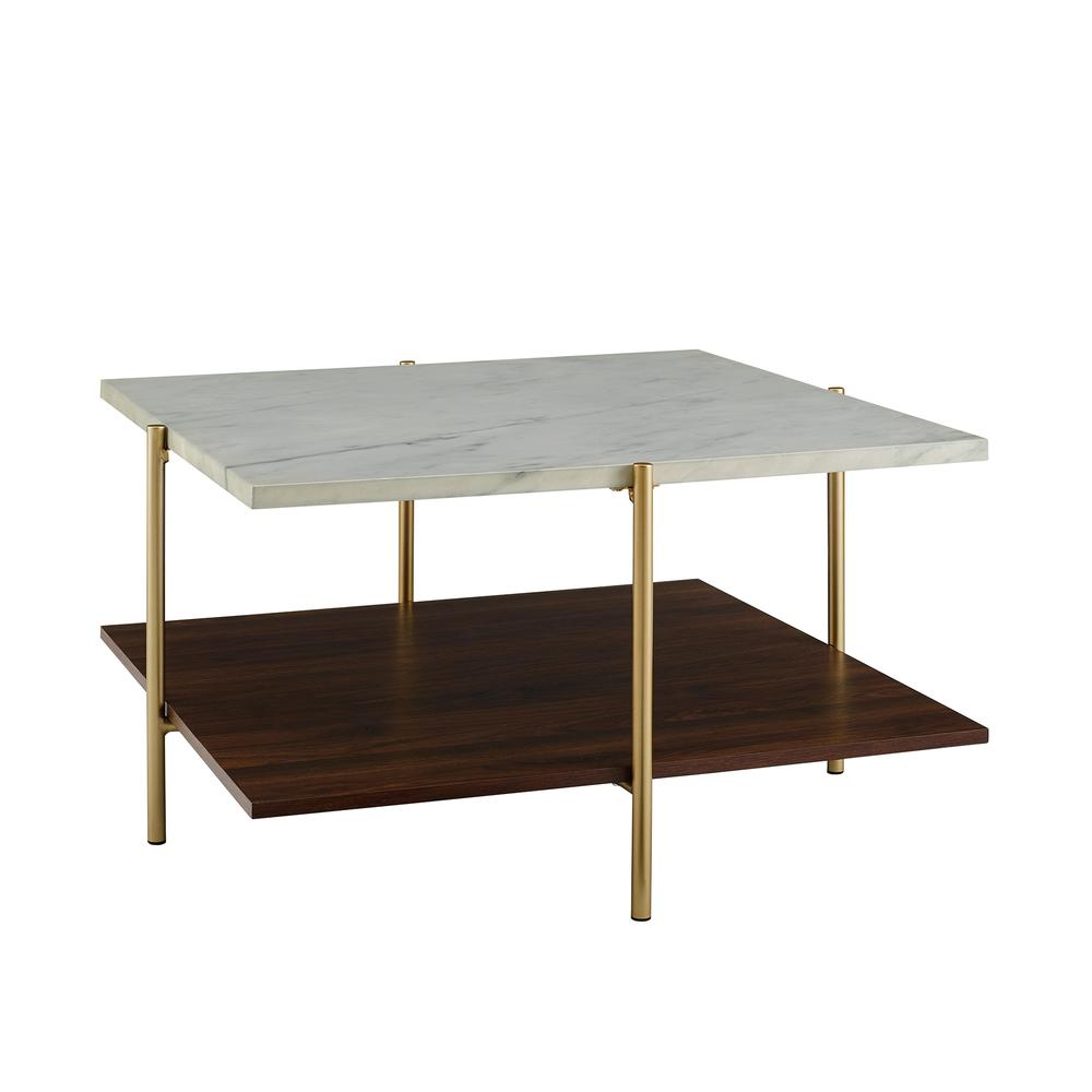 Coffee Table White Faux Marble Gold