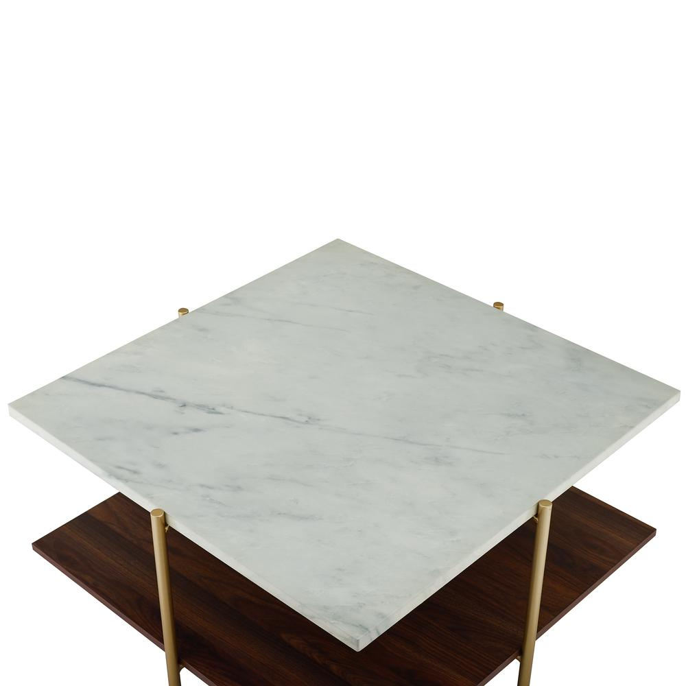 32 Quot Mid Century Square Coffee Table White Faux Marble Gold